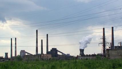 Power Plant Tower Exploding Smoke