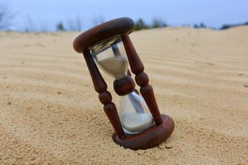 Hourgass in desert
