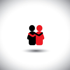 friends hug each other, deep relationship & bonding - vector ico