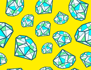 Vector illustration of pattern of green emeralds of different si