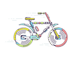 Vector illustration of bicycle moving fast on light background l