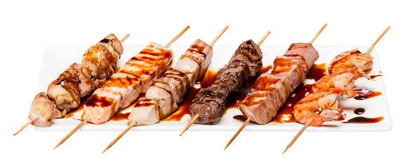 set of different skewers kebab shashlik isolated on white backgr