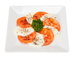 salad caprese with mozzarella and tomato