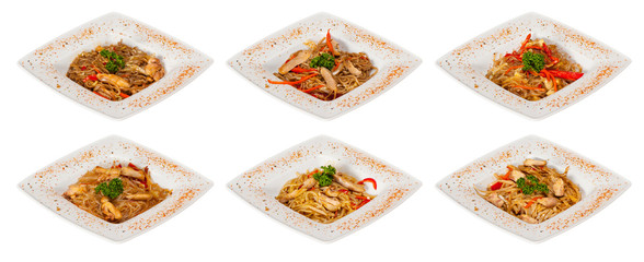 chinese stir-fried noodles set with chicken meat, seafood and sa