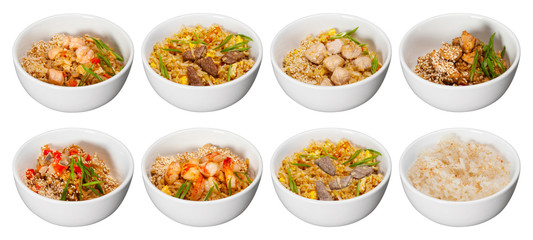 set of bowls with rice meat seafood and sesame isolated on white