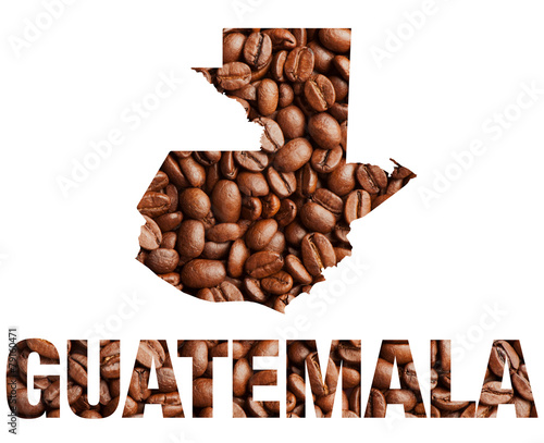 Fotobehang Granen Guatemala map and word coffee beans isolated on white