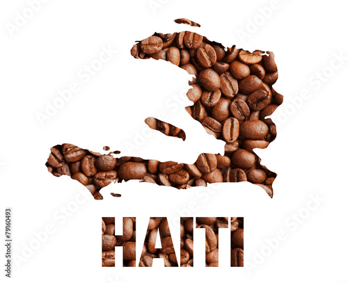 Fotobehang Granen Haiti map and word coffee beans isolated on white