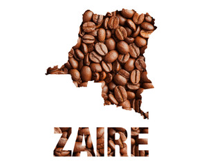 Zaire map and word coffee beans isolated on white