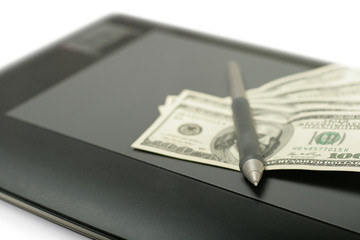 Graphic tablet with pen and money