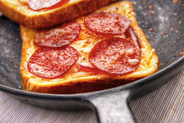 Hot sandwiches with pepperoni and cheese