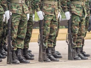 Marines performing Military Parade of Royal Thai Navy