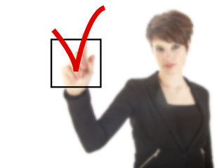 Young woman with checkbox isolated