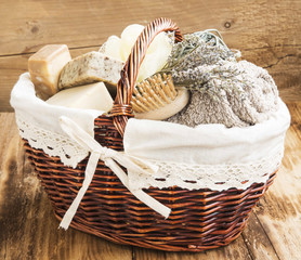 Bodycare Products in a Wicker Basket