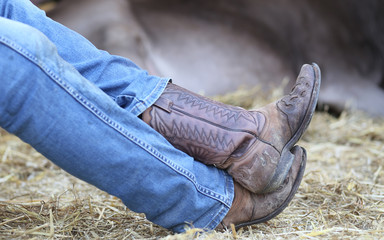 Cowboy leather boots and pants in blue jeans in the stable of bu