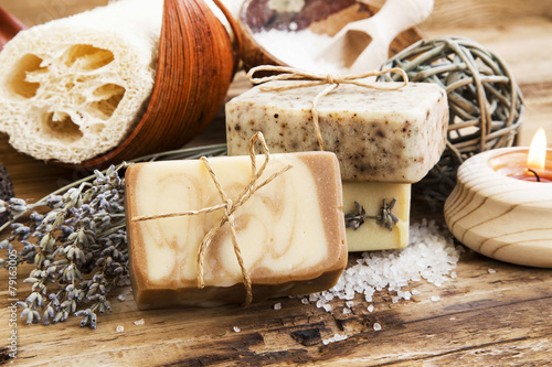 Natural Soap.Homemade Spa Setting with Bodycare Products - 79163005