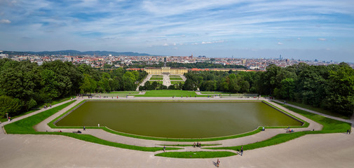 A panoramic view of the Schonbrunn palace in Vienna