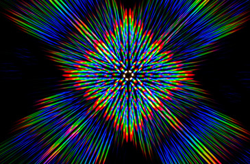 Diffraction of light from the LED array on a thin grating