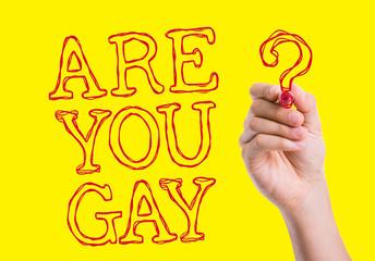 Are You Gay written on wipe board