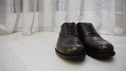 Male dress brown shoes elegance slider close up