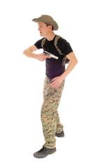 Soldier pulling his handgun.