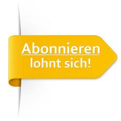 Langer gelber Sticker Pfeil – Abonnieren lohnt sich!