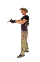 Soldier aiming his handgun.