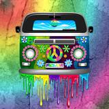 Hippie Van Dripping Rainbow Paint