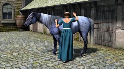 femme brossant un cheval