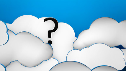 Question mark in the clouds blue heaven background