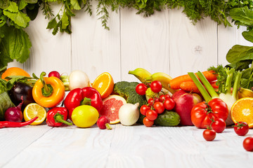 Fruit and vegetable borders Fruit and vegetable borders on wood