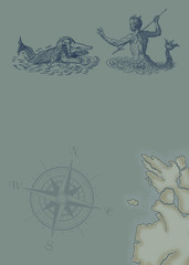 Neptune and monster illustration