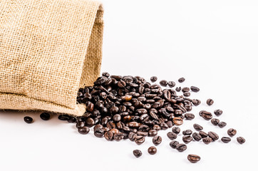 roasted coffee beans from sack bag