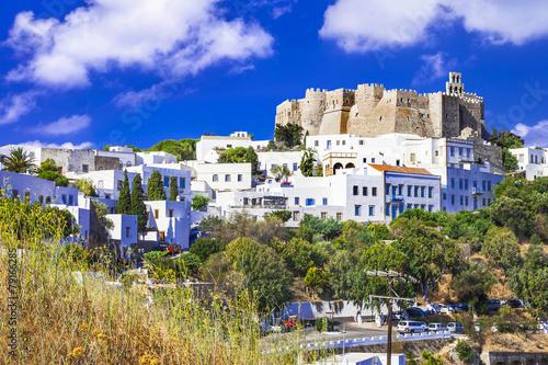 Leinwanddruck Bild view of Monastery of st.John in Patmos island, Dodecanese,Greece