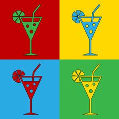 Pop art cocktail glass symbol icons.