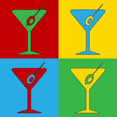 Pop art martini glass symbol icons.