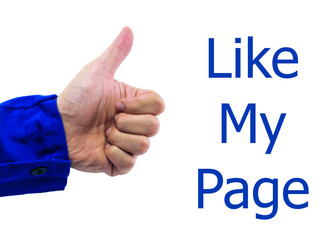 Real hand of Facebook thumbs up sign on white background