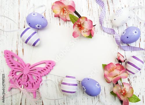 Leinwanddruck Bild easter background with easter eggs