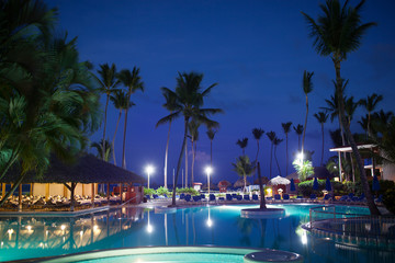 View of summer tropical resort at night