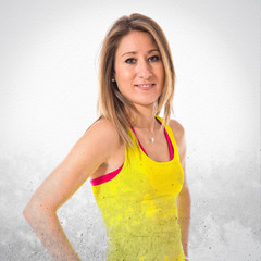Sport woman in yellow clothes