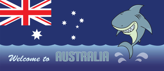 Happy shark.Welcome to Australia card illustration