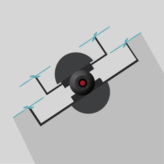 drone in black and blue four helices