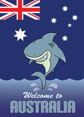 Happy shark.Welcome to Australia card illustration