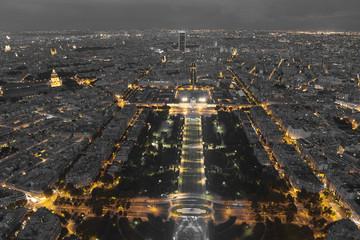 Nightfall in Paris, Ile-de-France, France