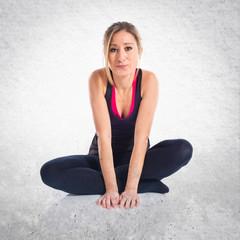 Sport woman on the floor