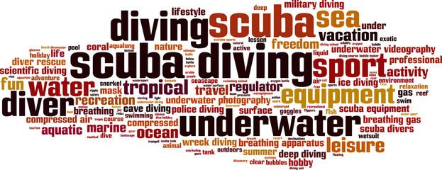 Scuba diving word cloud concept. Vector illustration
