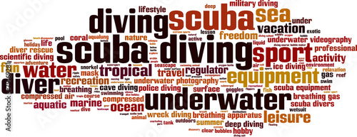 Scuba diving word cloud concept. Vector illustration - 79169281