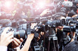 Leinwandbild Motiv press and media camera ,video photographer on duty in public new