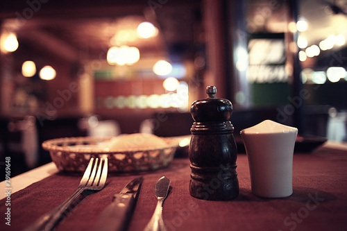 food in the restaurant, table, background - 79169648