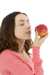 Woman holding delicious red apple
