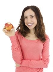 Woman holding her bitten apple